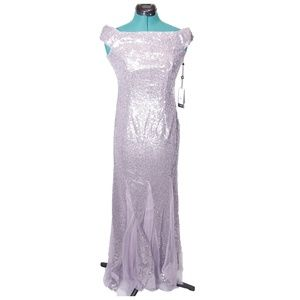 Adrianna Papell Sequin Dress Long Lilac Grey 2 NWT